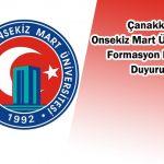 Çanakkale Onsekiz Mart Üniversitesi Formasyon