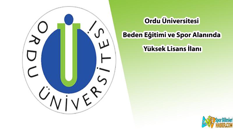 Ordu Üniversitesi yüksek lisans ilanı