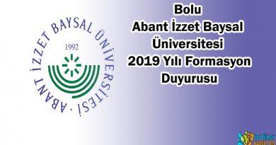 Bolu Abant Izzet Baysal Universitesi 2019 Formasyon