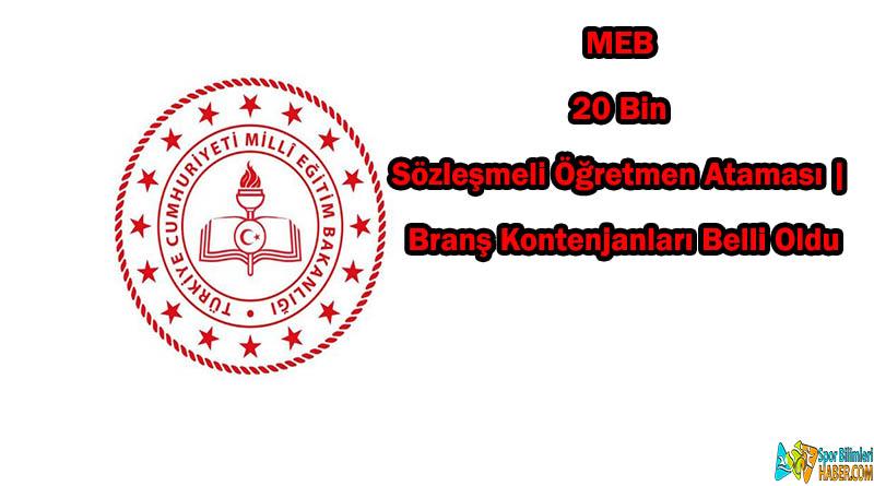 MEB 20 Bin Sözleşmeli Öğretmen Ataması | Branş Kontenjanları Belli Oldu